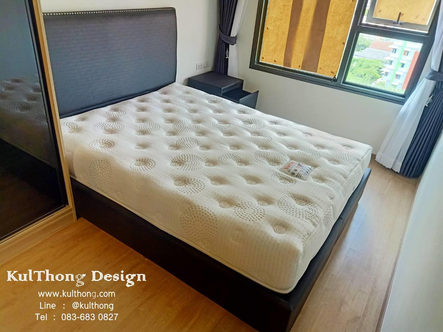 ฐานรองที่นอน เตียงหุ้มหนังตอกหมุด เตียงแบบมีหัวเตียง