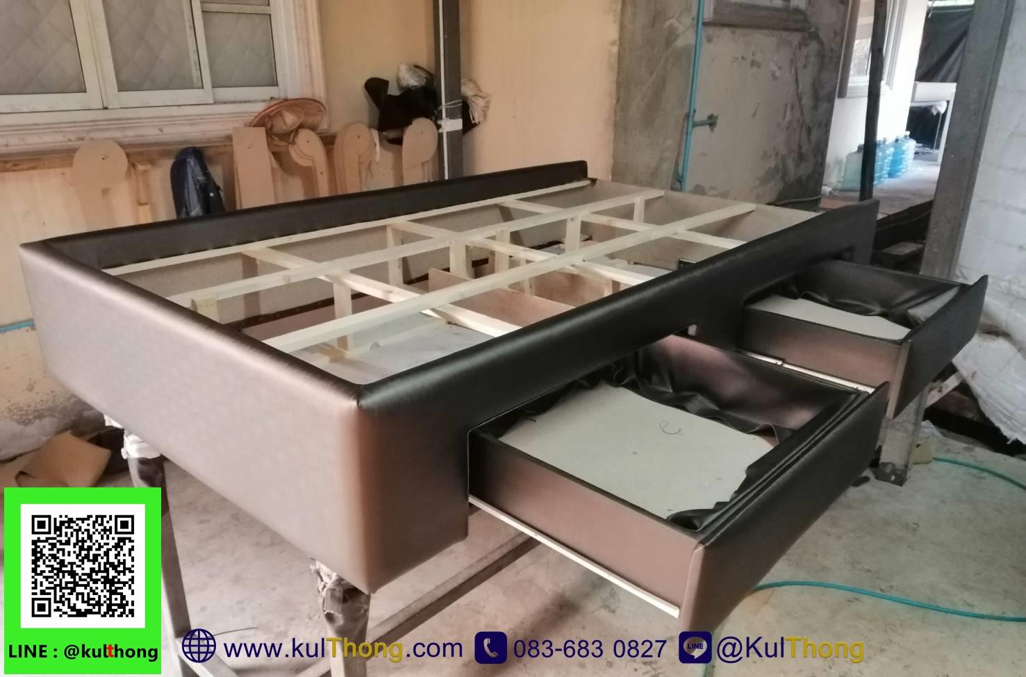 โครงสร้างเตียง ฐานรองที่นอน เตียงมีลิ้นชัก ไม้เบญจพรรณ