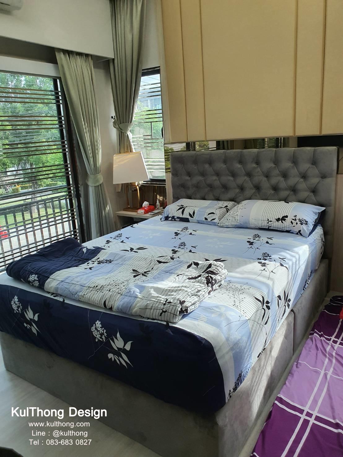 ฐานรองที่นอน เตียงดีไซน์ เตียงหุ้มผ้ากำมะหยี่