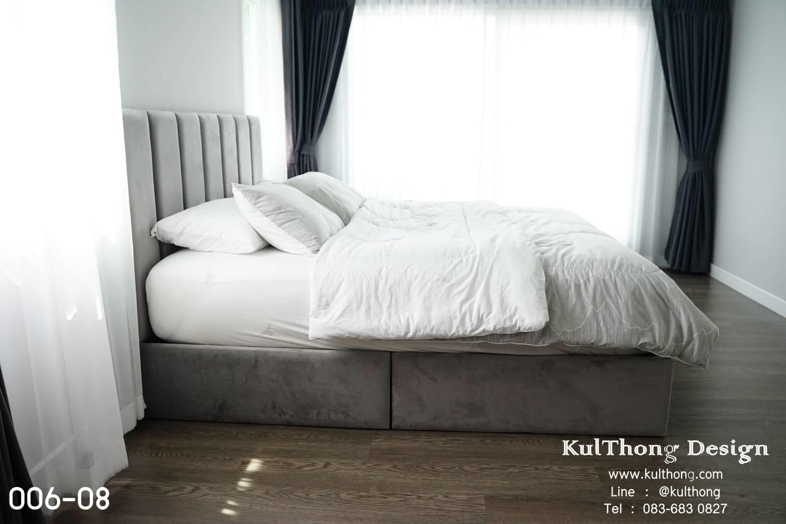 เตียงนอนดีไซน์ ฐานรองที่นอน เตียงผ้า