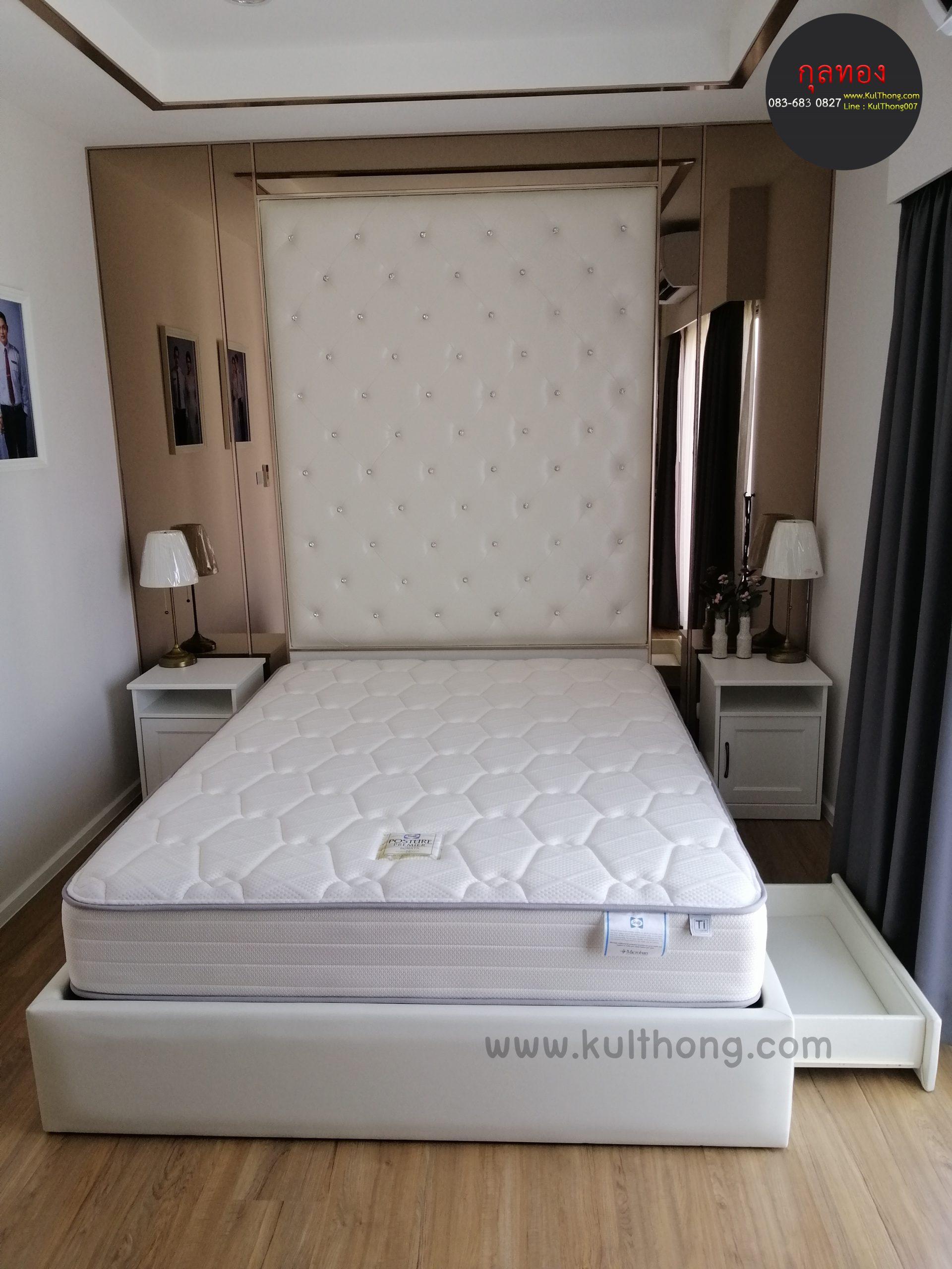 เตียงลิ้นชัก เตียงหุ้มหนัง เตียงมีลิ้นชัก ฐานเตียงแบบไม่มีหัวเตียง